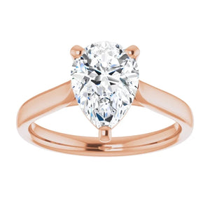 Three Claw Pear Solitaire Engagement Ring