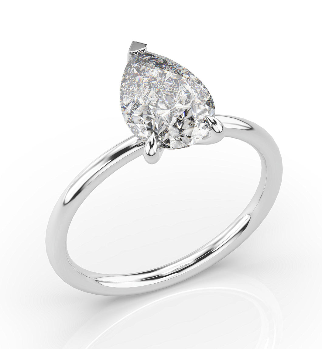Pear Three Claw Thin Band Solitaire Engagement Ring