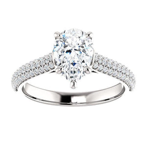 Pear Pave Style Engagement Ring - I Heart Moissanites
