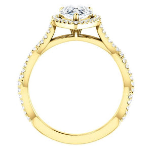 Pear Twist Halo Style Engagement Ring - I Heart Moissanites