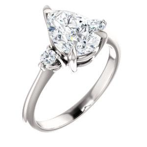 Pear Accent Engagement Ring