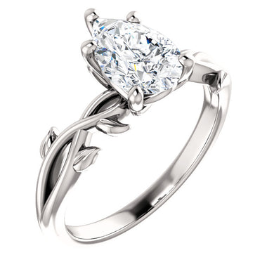 Pear Solitaire Leaf Design Engagement Ring