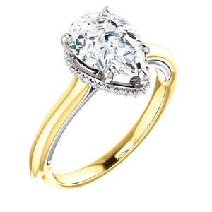 Pear Solitaire & Hidden Halo Engagement Ring