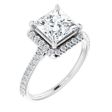 Princess Halo Style Engagement Ring