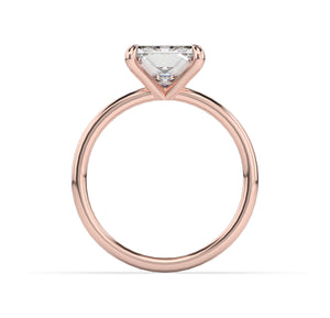Princess Thin Band Solitaire Engagement Ring