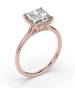 Princess Hidden Halo Thin Band Engagement Ring