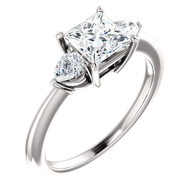 Princess Tri -Stone Style Pear Accent Engagement Ring