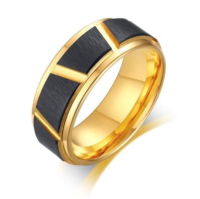 Tungsten Black & Gold Brushed Finish 8mm Men's Ring