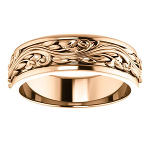 Men's Patterned Wedding Band