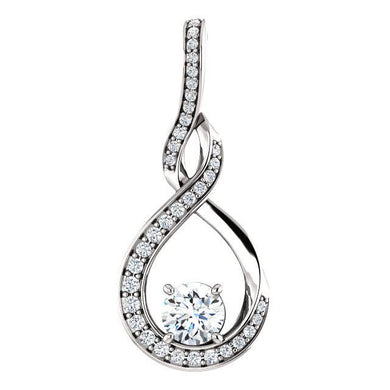 Round Claw Set Diamond Drop Style Pendant