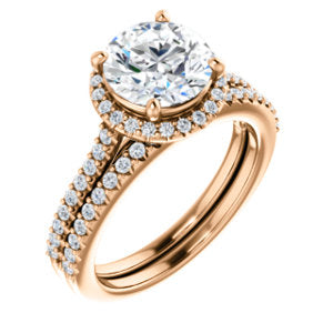 Round Halo & Heart Style Engagement Ring