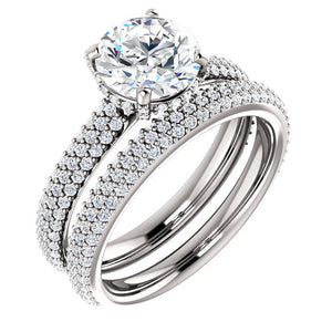 Round Brilliant Pave Style Engagement Ring