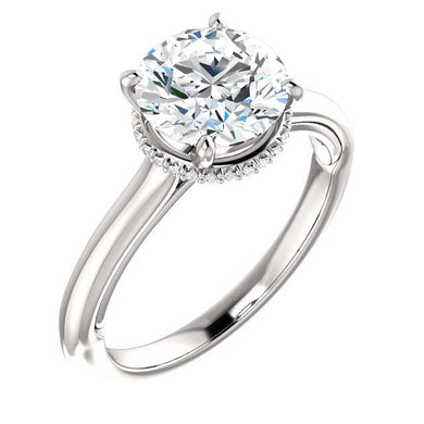 Round Brilliant Solitaire & Hidden Halo Engagement Ring