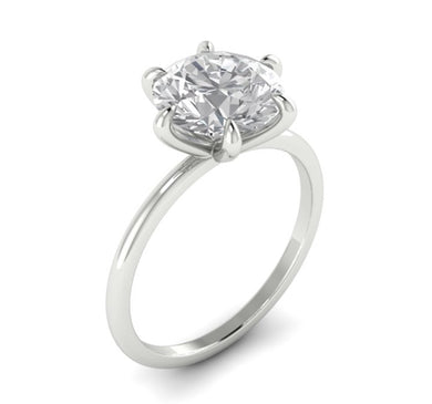 Round Brilliant Six Claw Thin Band Solitaire Engagement Ring