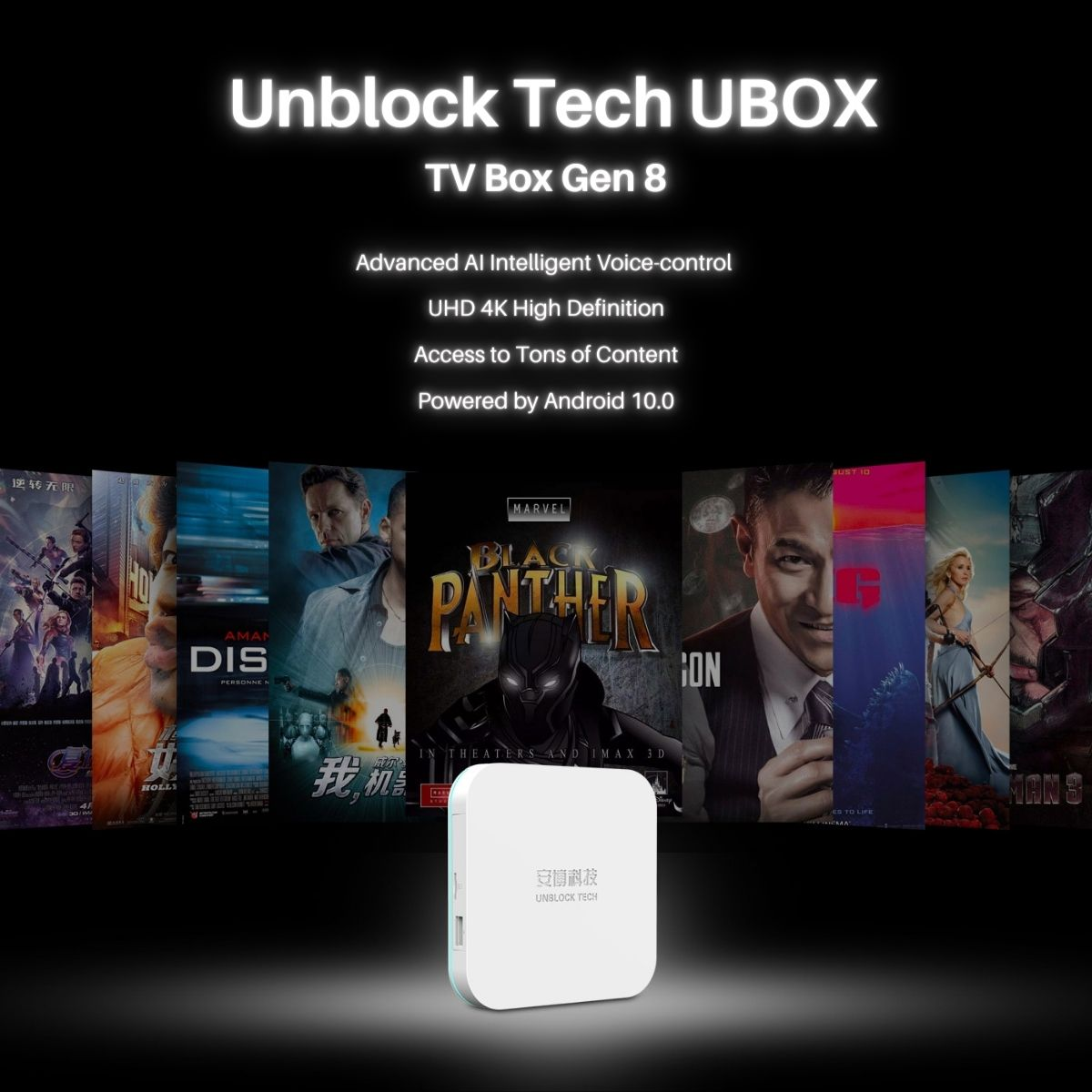 Unblock-Ubox8-Super-TVbox-Advanced AI Intelligent Voice-control  UHD 4K High Definition Access to Tons of Content Powered by Android 10.0