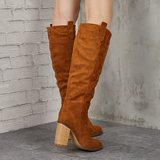 Charmystery Distressed Faux Suede Long Boots