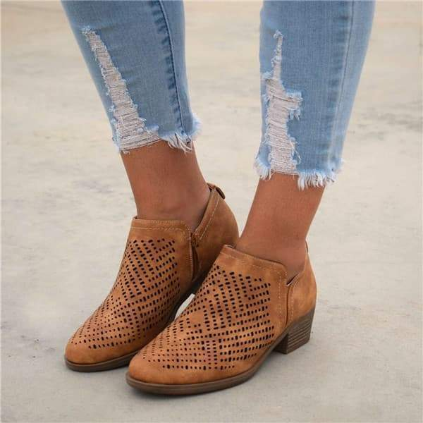 Charmystery Textured Laser Cut Bootie