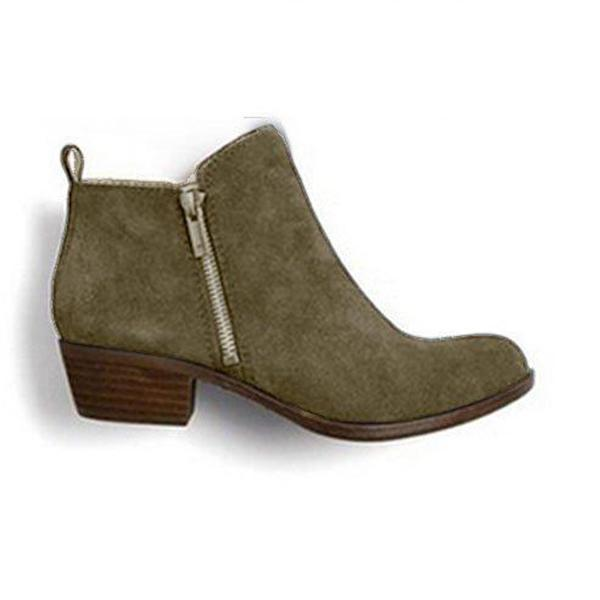 Charmystery Leather Suede Vintage Boots