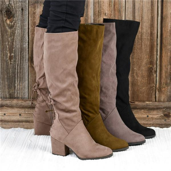 Charmystery Winter Suede Low Heel Daily Boots