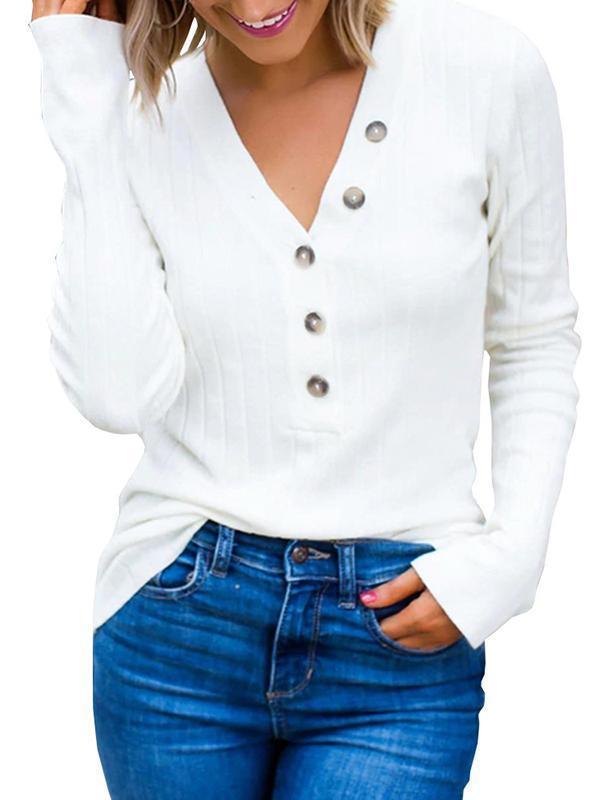 Charmystery Ribbed Button Up Knit Henley Top