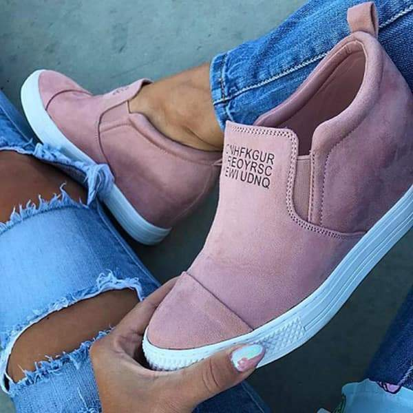 Charmystery Letter Slip On Wedge Sneakers