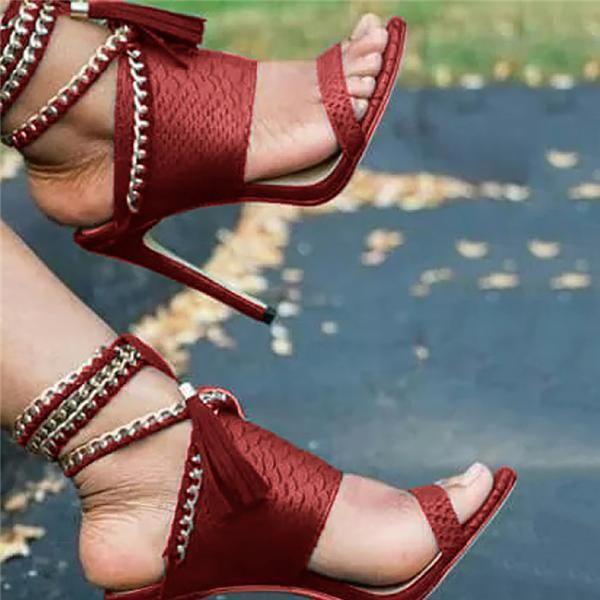 Charmystery Chain Bandage Double Tassel Stiletto Sandals