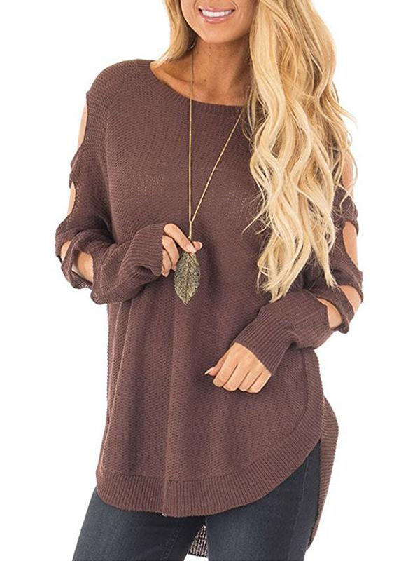 Charmystery Round Neck Arm Hollow Long Sleeve Sweater