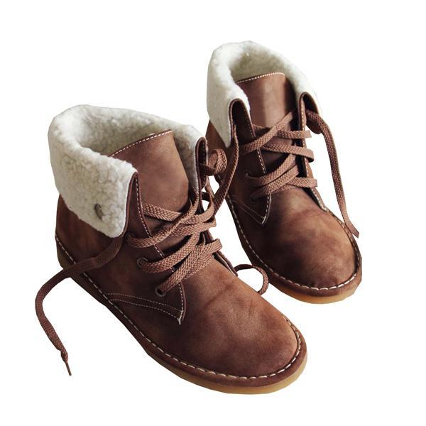Charmystery Winter Warm Suede Lace Boots