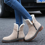 Charmystery Side Zipper Round Toe Ankle Snow Boots