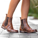 Charmystery Vintage Low Heel Pull-on Ankle Boots