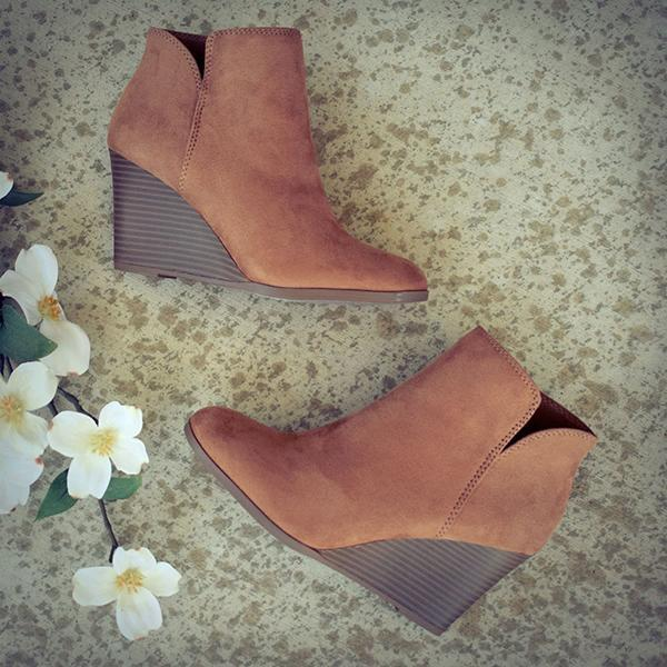 Charmystery Side Slit Wedge Booties