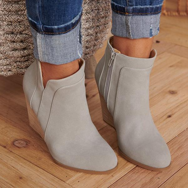 Charmystery Side Zipper Wedge Heel Point Toe Booties