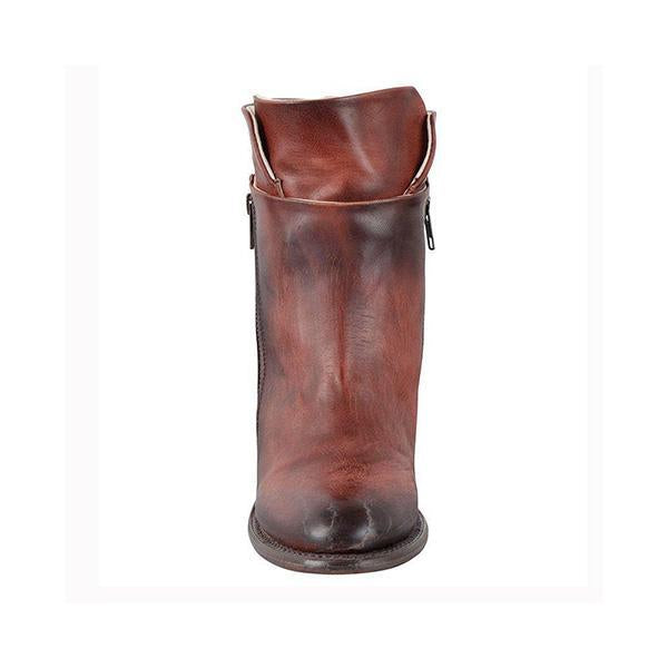 Charmystery Women Chunky Heel Side Zipper Boots