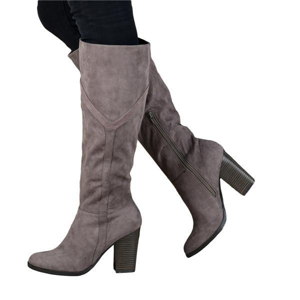 Charmystery Women's Chunky Heel Knee High Boots