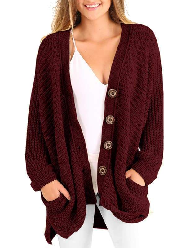Charmystery Boyfriend Long Cable Knit Cardigan