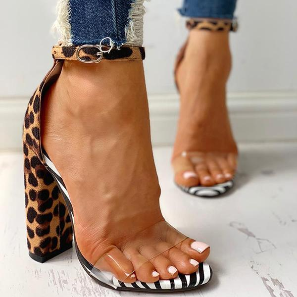 Charmystery Leopard Transparent Chunky Heels