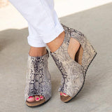 Charmystery Peep Toe Blocking Hook-Loop Wedges Snake Skin Shoes