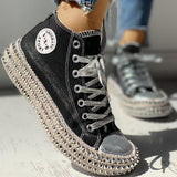 Charmystery Fashion Leopard Rivet Embellished Lace-Up Sneakers