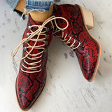 Charmystery Pointed Toe Lace-up Snakeskin Chunky Heeled Boots