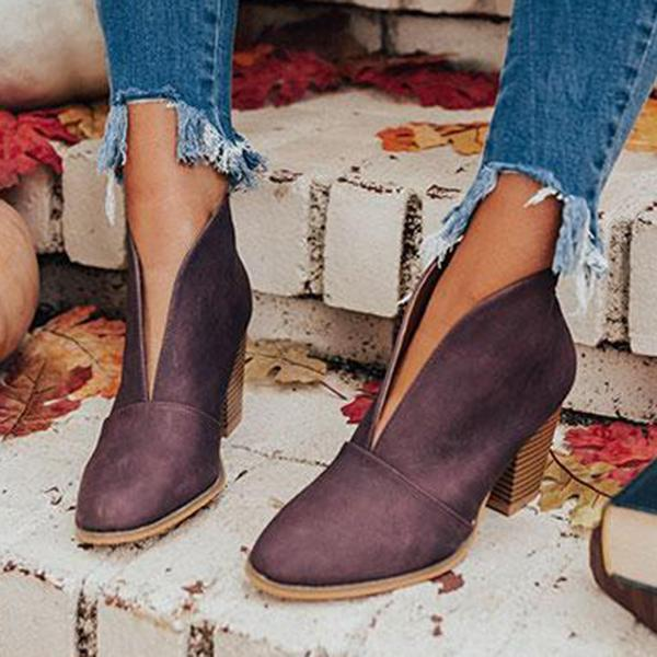 Charmystery Fashion Faux Leather Slip-on Boots