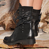 Charmystery Low Heel Bowknot Lace-Up Mid-Calf Boots