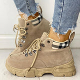 Charmystery Casual Plaid Splicing Lace-Up Martin Ankle Boots