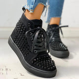 Charmystery Solid Studded Eyelet Lace-Up Casual Sneakers