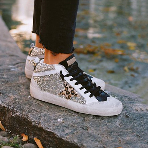 Charmystery Daily Shiny Lace Up Sneakers