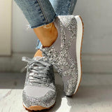 Charmystery Solid Sequins Lace-Up Sport Sneakers