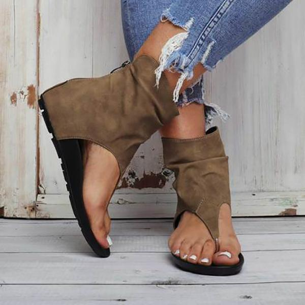 Charmystery Hollow out Back Zipper Flat Booties