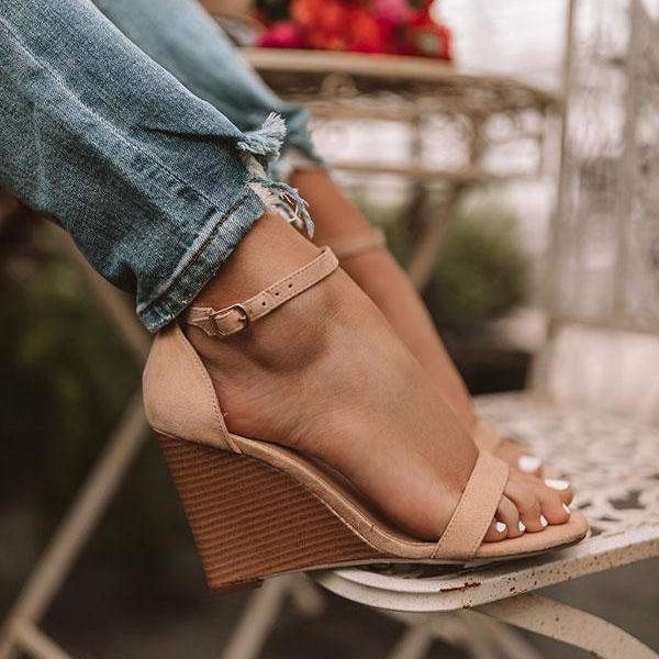 Charmystery Adjustable Buckle Wedges Heels