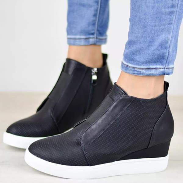 Charmystery Zipper Wedge Breathable Sneakers