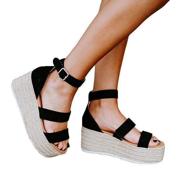 Charmystery Espadrille Open Toe Ankle Strap Platform Sandals (Ship in 24 Hours)