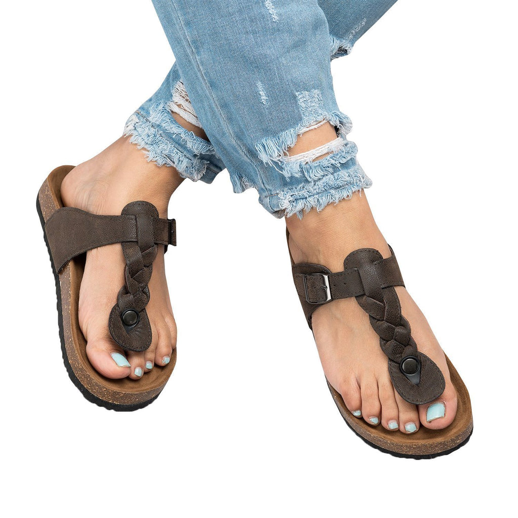 Charmystery Buckle Strap Flip Flops